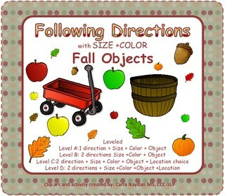 Following Directions with Size, Color and Fall Objects