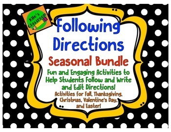 Following and Writing Directions Bundle- Seasonal Activities!