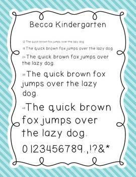 Font {Becca Kindergarten}
