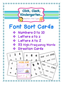 Font Sort Game Cards for Number, Letters, and High Frequen