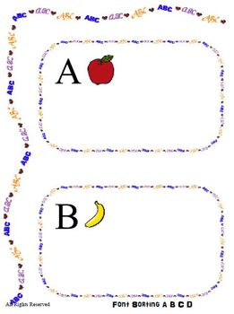 Font Sorting for Letters ABCD - File Folder Game Reading C