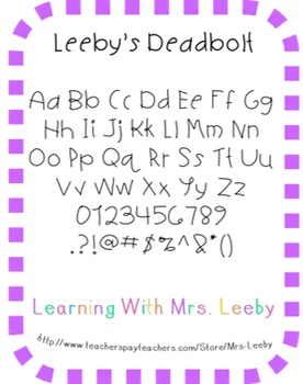Font for personal and commercial use - Leeby's Deadbolt