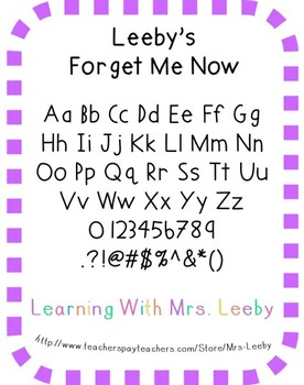 Font for personal and commercial use - Leeby's Forget Me Now