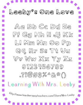 Font for personal and commercial use - Leeby's One Love (O