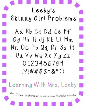 Font for personal and commercial use - Leeby's Skinny Girl