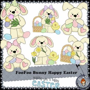FooFoo Bunny Happy Easter clipart
