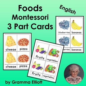 Food - Montessori 3 Part Cards - English Only