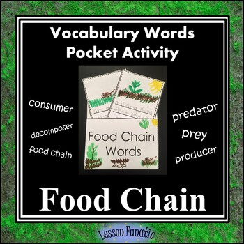 Food Chain Vocabulary Pocket Activity with Definition and