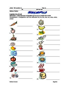 Food Chapter   La comida, ER and IR verbs lesson