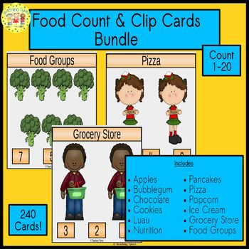 Food Count and Clip Cards Bundle