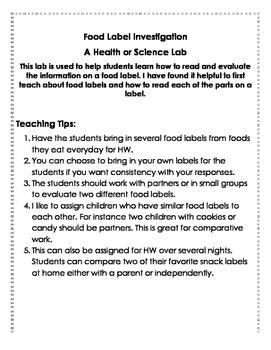 Food Label Lab