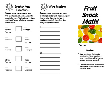 Food Math: Fruit Snack Math! - Fractions, Data Collections