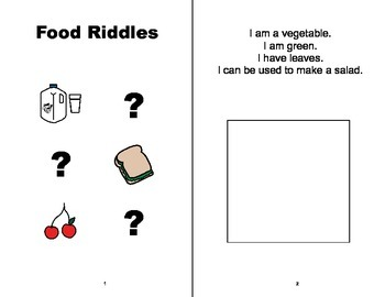 Food Riddles Adapted Book, SPEECH THERAPY, Autism, Vocabulary
