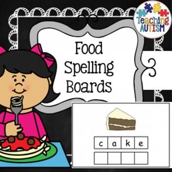 Food Spelling Task Cards - Autism