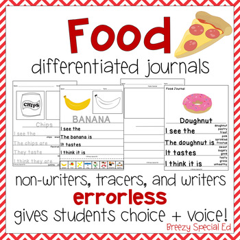 Food Themed Differentiated Journal Writing for Special Edu