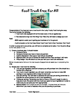 Food Truck Free For All- Multiplying and Dividing Fraction