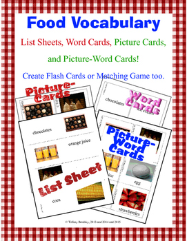 Food Vocabulary Word Cards; Great for Primary, ESL, or ESO