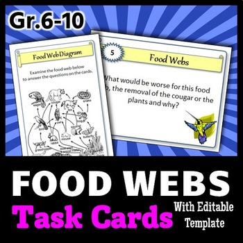 Food Webs Task Cards {with Editable Template}