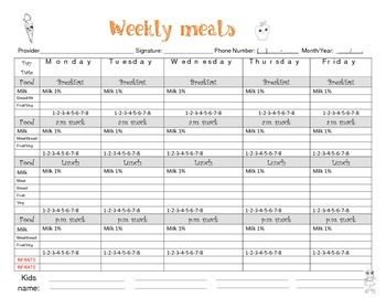Food chart menu Child care