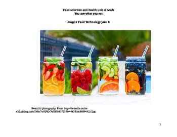 Food selection and health unit of work You are what you eat