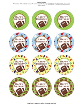 Football Birthday Pencil Toppers