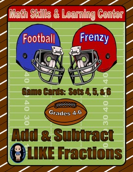Football Frenzy Game Cards (Add & Subtract LIKE Fractions)