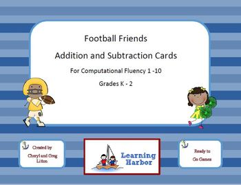 Football Friends Addition and Subtraction Cards for Comput