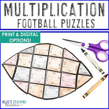Football Math Centers: Multiplication Puzzles
