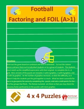 Football Math Puzzles-Factoring & FOIL Method Leading Coef