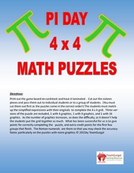 Pi Day Math Puzzles - Combining Like Terms