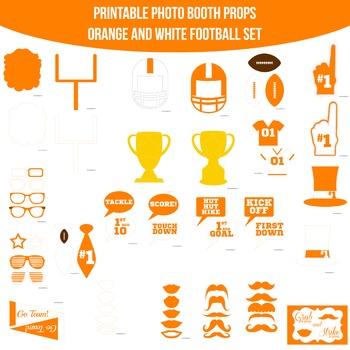 Football Orange White Printable Photo Booth Prop Set