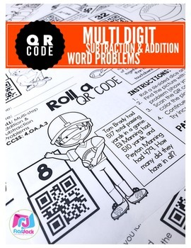 Football QR Code Addition and Subtraction Word Problem Wor
