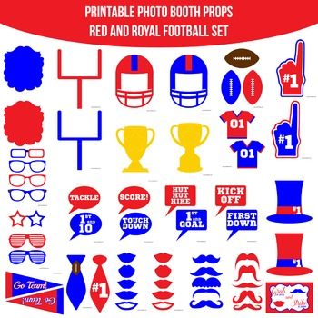 Football Red Blue Printable Photo Booth Prop Set