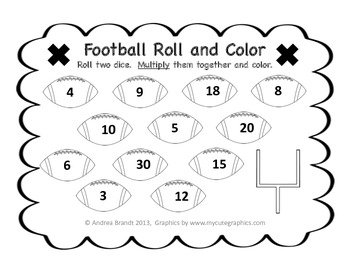 Football Roll and Color - Multiplication