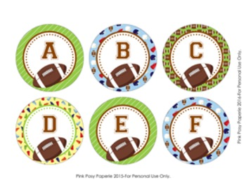 Football Round Alphabet Tags