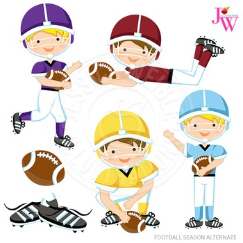 Football Season Alternate Cute Digital Clipart, Boys Footb