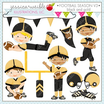 Football Season Black & Gold Cute Digital Clipart, Boys Fo