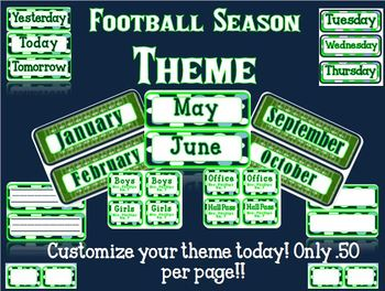 Football Season Blue and Green Classroom Theme