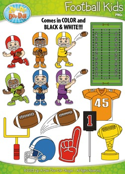 Football Sports Kid Characters Clipart Set Set — Includes