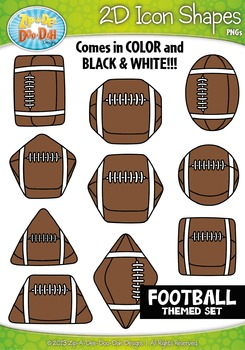 Football Themed 2D Icon Shapes Clipart Set — Includes 20 G