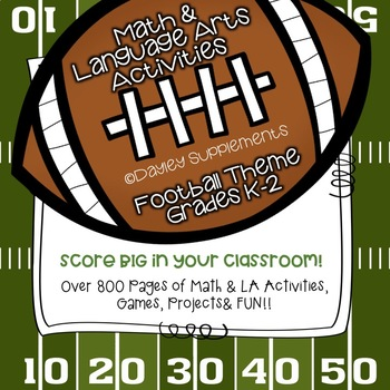 Football Season Bundle K-2 Math & LA - Flashcards, workshe