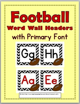 Football Theme Alphabet Letters Word Wall Headers - Word W