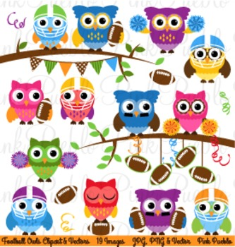 Football or Sports Owls Clipart Clip Art - Commercial and
