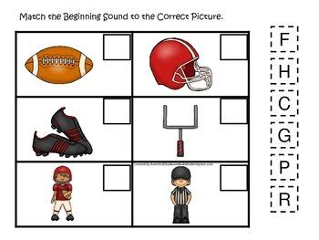 Football themed Beginning Sounds preschool educational gam