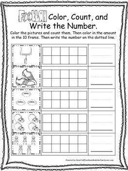 Football themed Color, Count, and Write preschool educatio