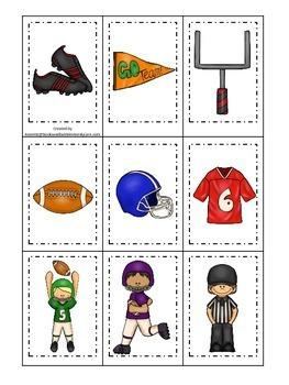 Football themed Memory Matching preschool educational game