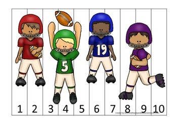 Football themed Number Sequence Puzzle 1-10 preschool educ