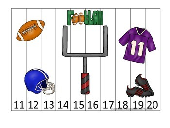 Football themed Number Sequence Puzzle 11-20 preschool edu