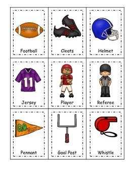 Football themed Three Part Matching preschool educational