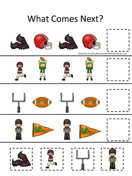 Football themed What Comes Next preschool educational game